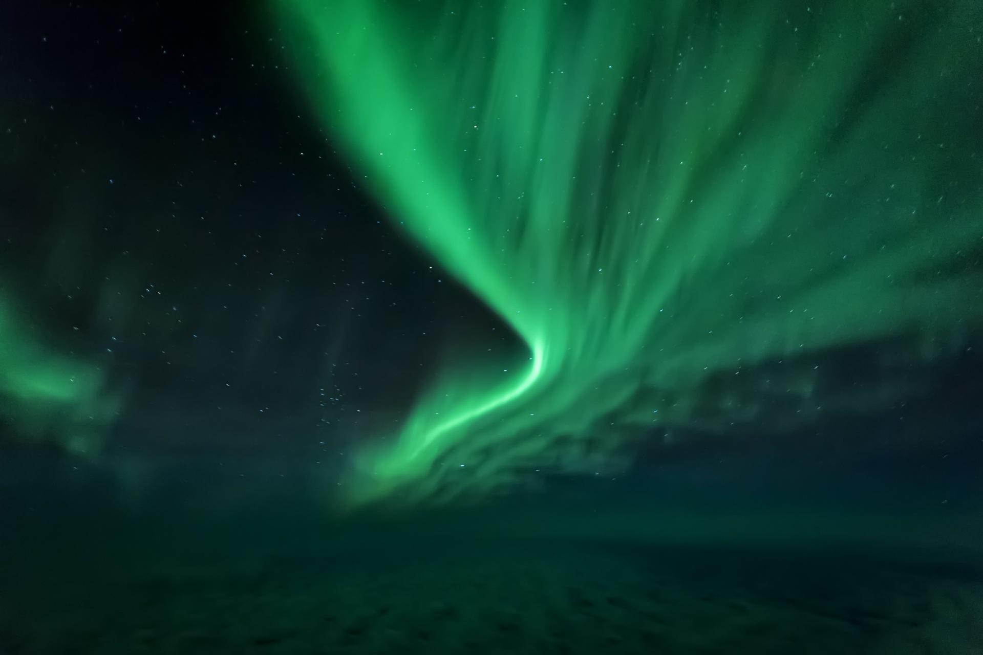 グリーンランドのオーロラの風景