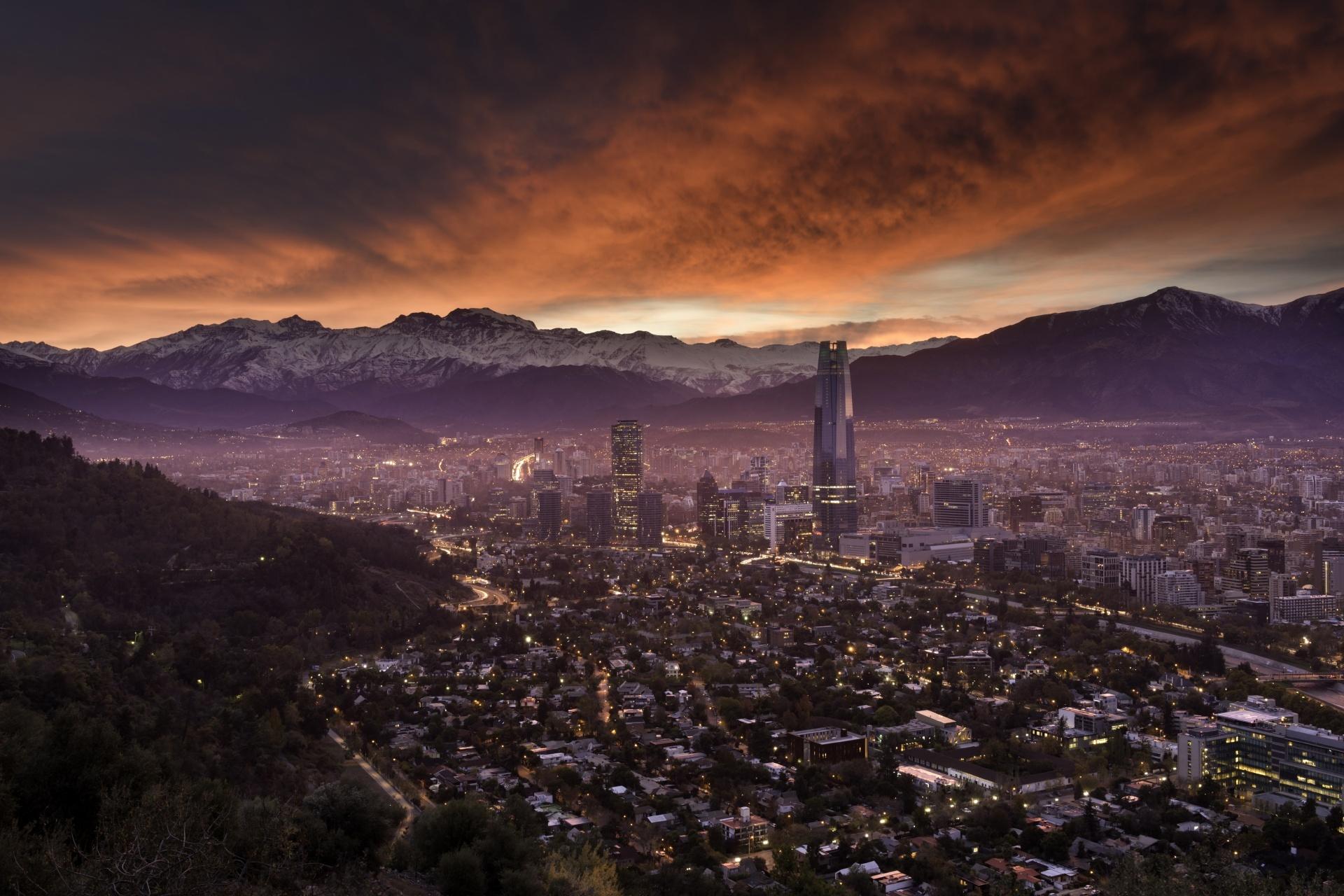 朝のサンティアゴ チリ